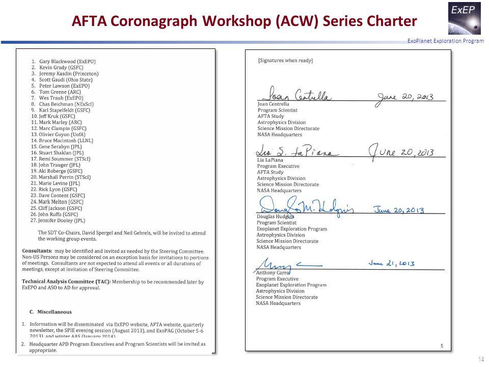ExoPlanet Exploration Program AFTA Coronagraph Workshop (ACW) Series Charter 14