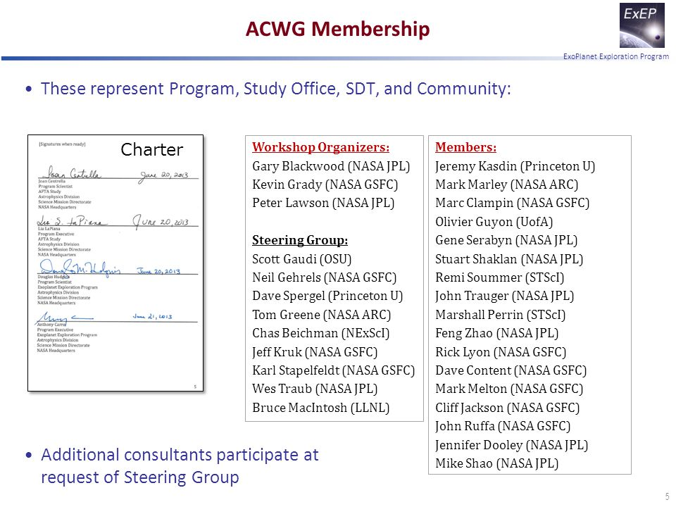 ExoPlanet Exploration Program ACWG Membership These represent Program, Study Office, SDT, and Community: Additional consultants participate at request