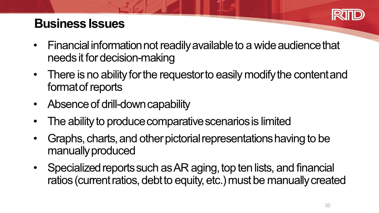 Business Issues Financial information not readily available to a wide audience that needs it for decision-making There is no ability for the requestor to easily modify the content and format of reports Absence of drill-down capability The ability to produce comparative scenarios is limited Graphs, charts, and other pictorial representations having to be manually produced Specialized reports such as AR aging, top ten lists, and financial ratios (current ratios, debt to equity, etc.) must be manually created 35