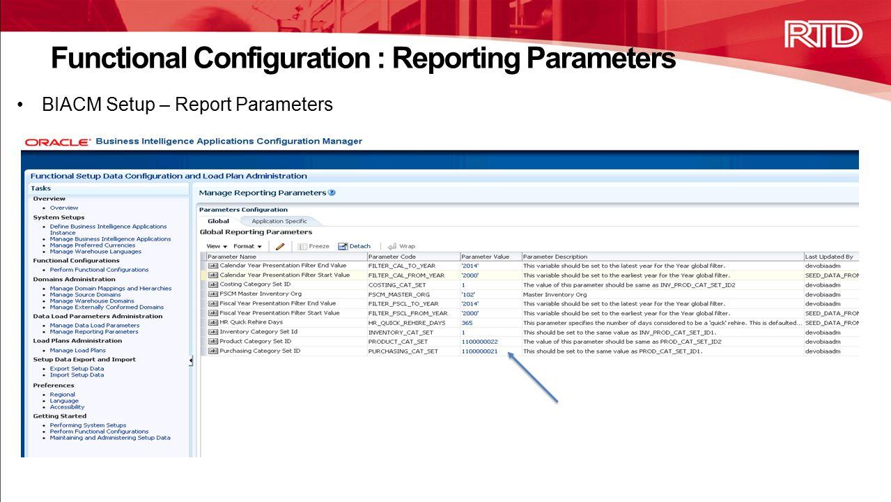 BIACM Setup – Report Parameters Functional Configuration : Reporting Parameters