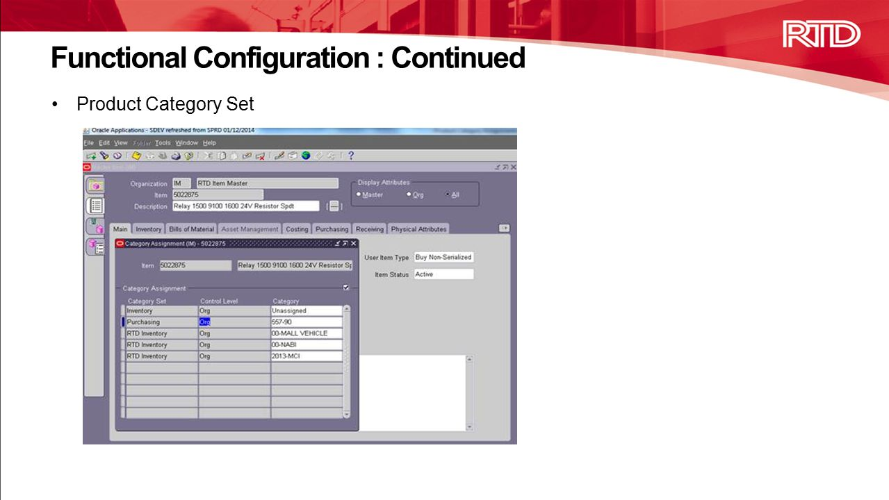 Product Category Set Functional Configuration : Continued