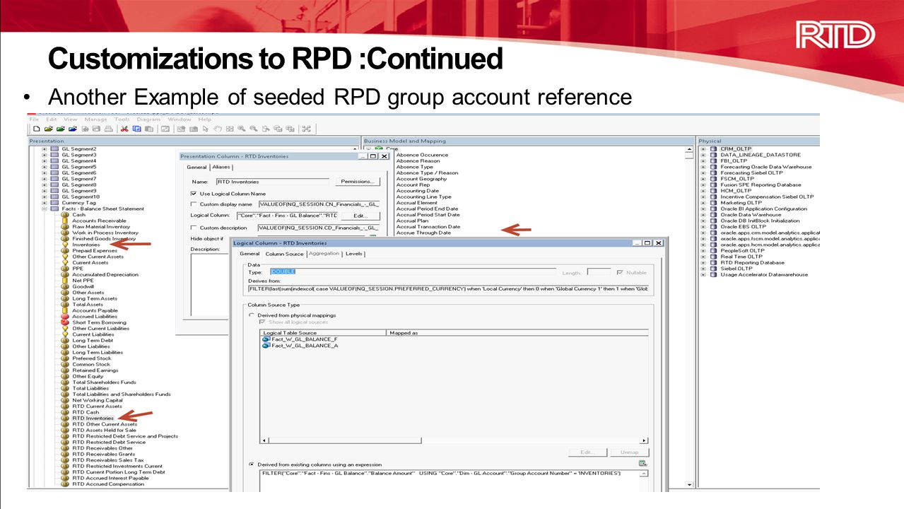 Another Example of seeded RPD group account reference Customizations to RPD :Continued