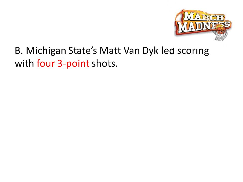 B. Michigan State's Matt Van Dyk led scoring with four 3-point shots.