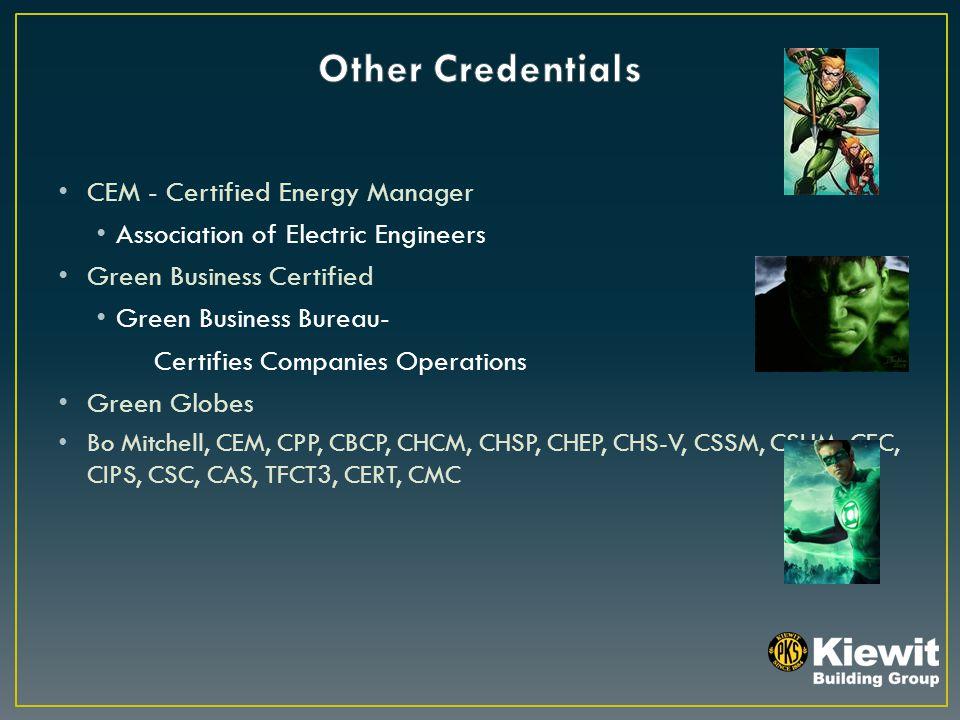 CEM - Certified Energy Manager Association of Electric Engineers Green Business Certified Green Business Bureau- Certifies Companies Operations Green Globes Bo Mitchell, CEM, CPP, CBCP, CHCM, CHSP, CHEP, CHS-V, CSSM, CSHM, CFC, CIPS, CSC, CAS, TFCT3, CERT, CMC
