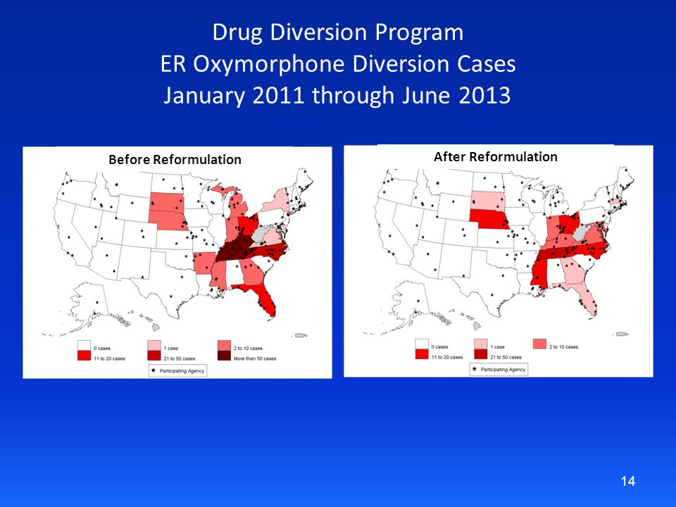 Drug Diversion Program ER Oxymorphone Diversion Cases January 2011 through June 2013 14 Before Reformulation After Reformulation