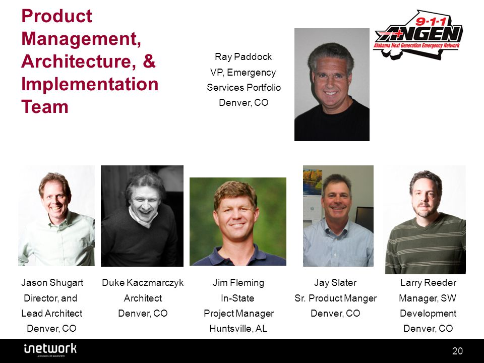 Confidential20Confidential20 Product Management, Architecture, & Implementation Team Ray Paddock VP, Emergency Services Portfolio Denver, CO Jason Shu