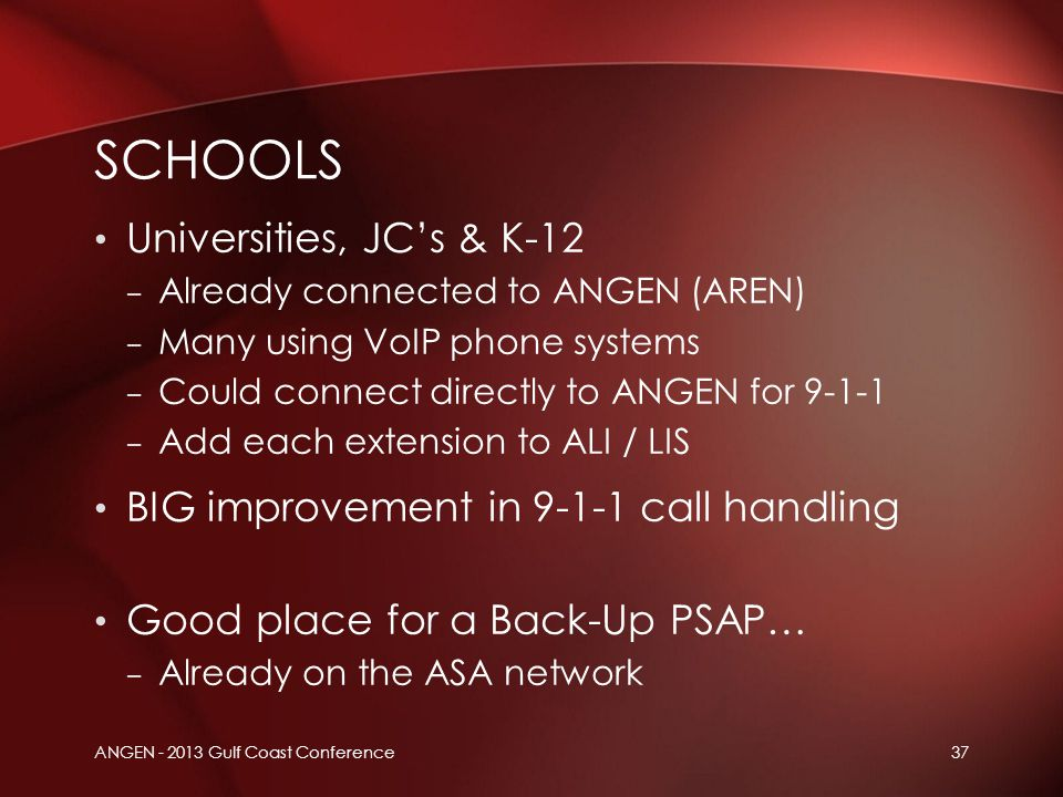 ANGEN - 2013 Gulf Coast Conference37 Universities, JC's & K-12 – Already connected to ANGEN (AREN) – Many using VoIP phone systems – Could connect dir