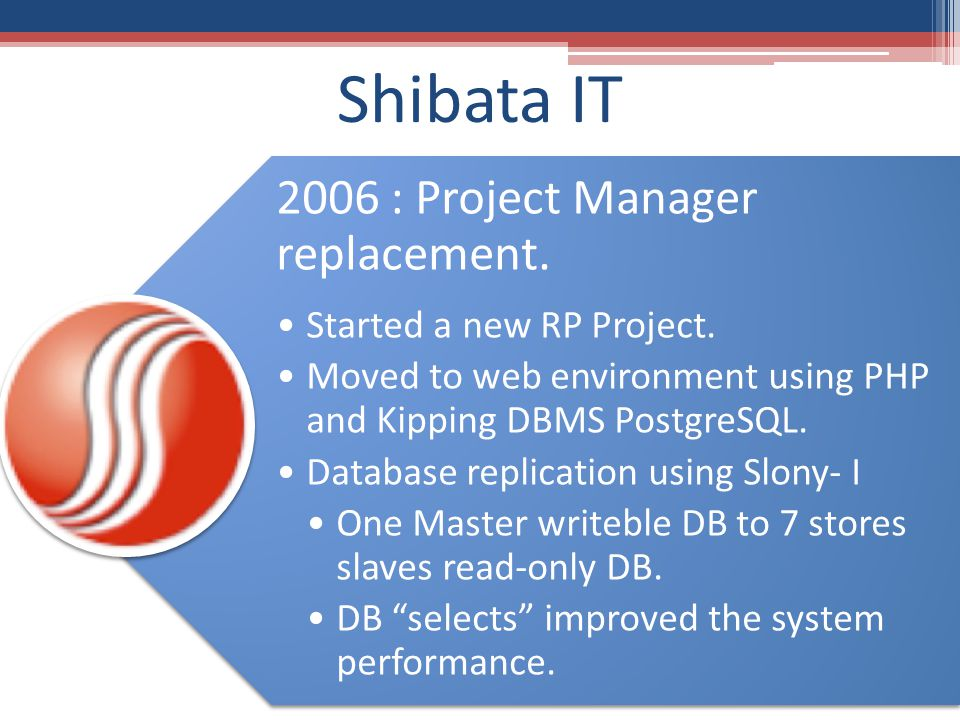 2006 : Project Manager replacement. Started a new RP Project.