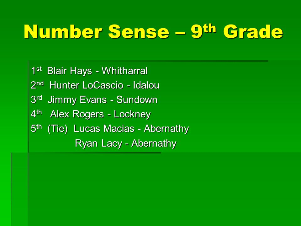 Number Sense – 9 th Grade 1 st Blair Hays - Whitharral 2 nd Hunter LoCascio - Idalou 3 rd Jimmy Evans - Sundown 4 th Alex Rogers - Lockney 5 th (Tie) Lucas Macias - Abernathy Ryan Lacy - Abernathy Ryan Lacy - Abernathy