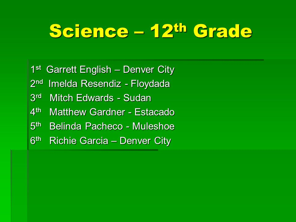 Science – 12 th Grade 1 st Garrett English – Denver City 2 nd Imelda Resendiz - Floydada 3 rd Mitch Edwards - Sudan 4 th Matthew Gardner - Estacado 5 th Belinda Pacheco - Muleshoe 6 th Richie Garcia – Denver City