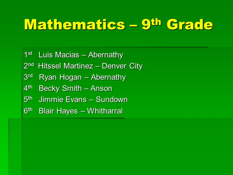 Mathematics – 9 th Grade 1 st Luis Macias – Abernathy 2 nd Hitssel Martinez – Denver City 3 rd Ryan Hogan – Abernathy 4 th Becky Smith – Anson 5 th Jimmie Evans – Sundown 6 th Blair Hayes – Whitharral