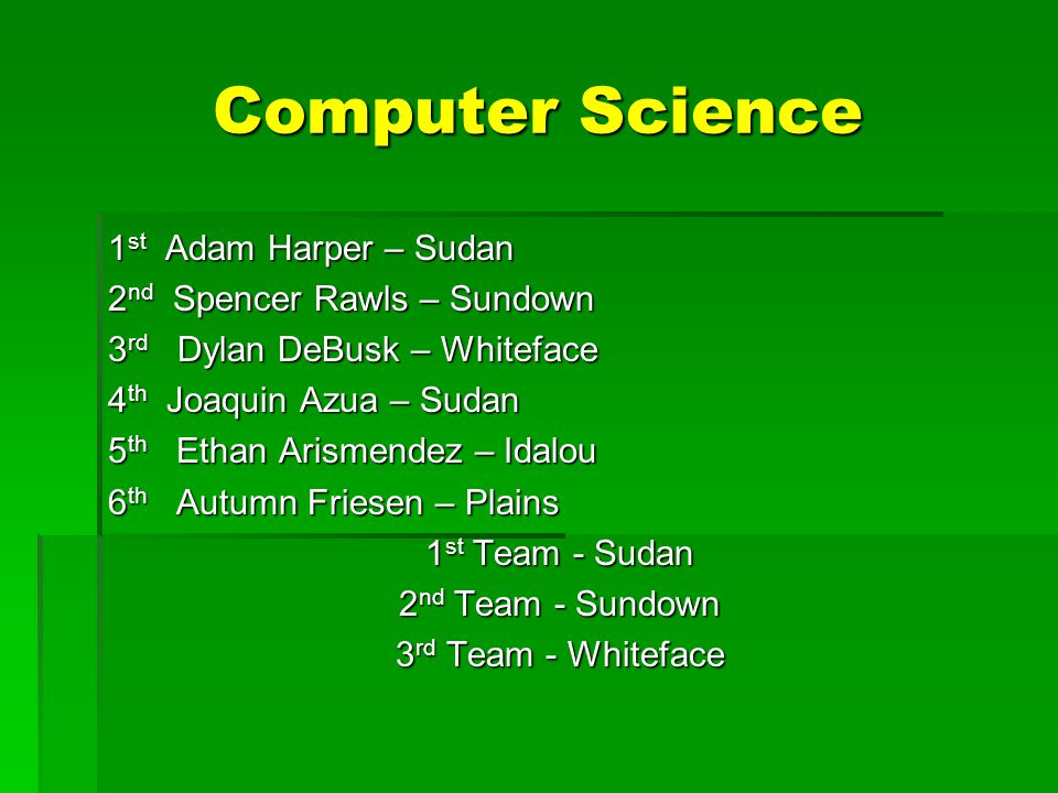 Computer Science 1 st Adam Harper – Sudan 2 nd Spencer Rawls – Sundown 3 rd Dylan DeBusk – Whiteface 4 th Joaquin Azua – Sudan 5 th Ethan Arismendez – Idalou 6 th Autumn Friesen – Plains 1 st Team - Sudan 2 nd Team - Sundown 3 rd Team - Whiteface