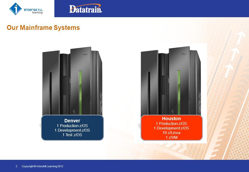 Our Mainframe Systems 2Copyright © Interskill Learning 2012 Houston 1 Production z/OS 1 Development z/OS 10 z/Linux 1 z/VM Denver 1 Production z/OS 1 Development z/OS 1 Test z/OS
