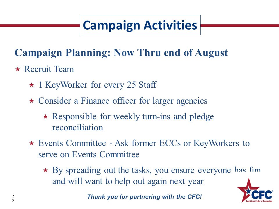 Campaign Activities 22 Thank you for partnering with the CFC.