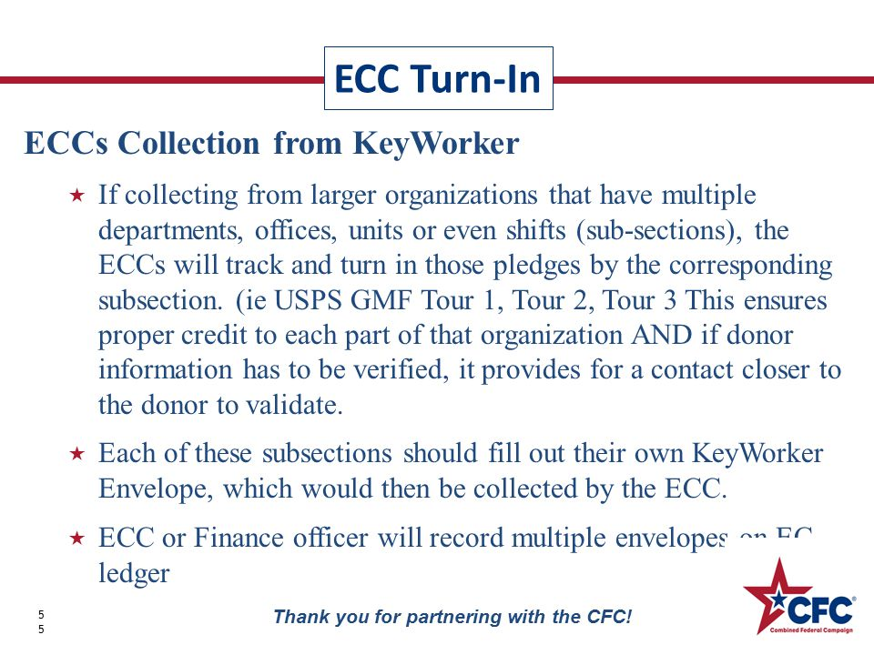 ECC Turn-In 55 Thank you for partnering with the CFC.