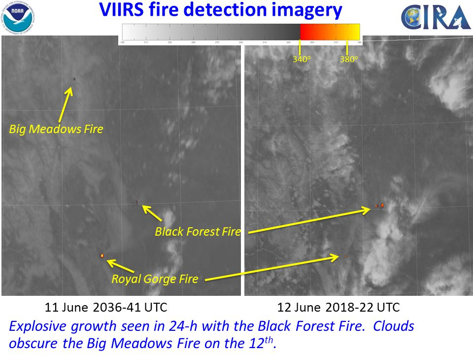 VIIRS fire detection imagery 11 June 2036-41 UTC12 June 2018-22 UTC Royal Gorge Fire Black Forest Fire Explosive growth seen in 24-h with the Black Forest Fire.