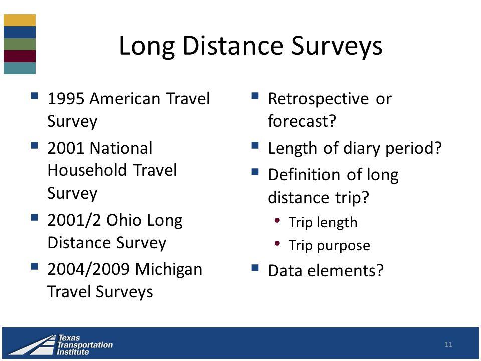 Long Distance Surveys  1995 American Travel Survey  2001 National Household Travel Survey  2001/2 Ohio Long Distance Survey  2004/2009 Michigan Travel Surveys  Retrospective or forecast.