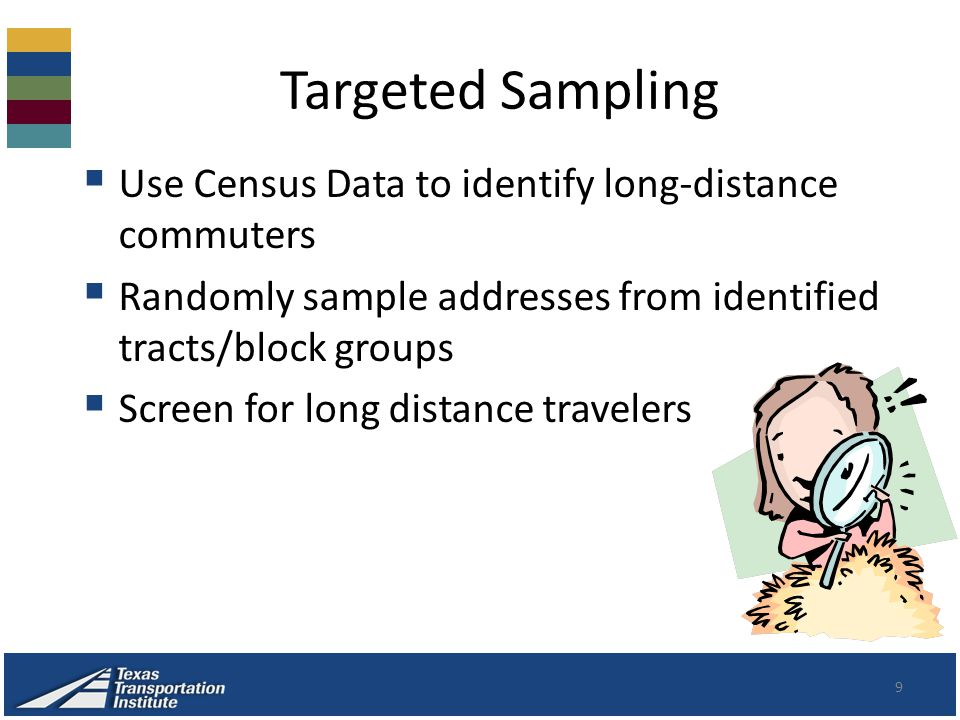 Targeted Sampling 9  Use Census Data to identify long-distance commuters  Randomly sample addresses from identified tracts/block groups  Screen for long distance travelers