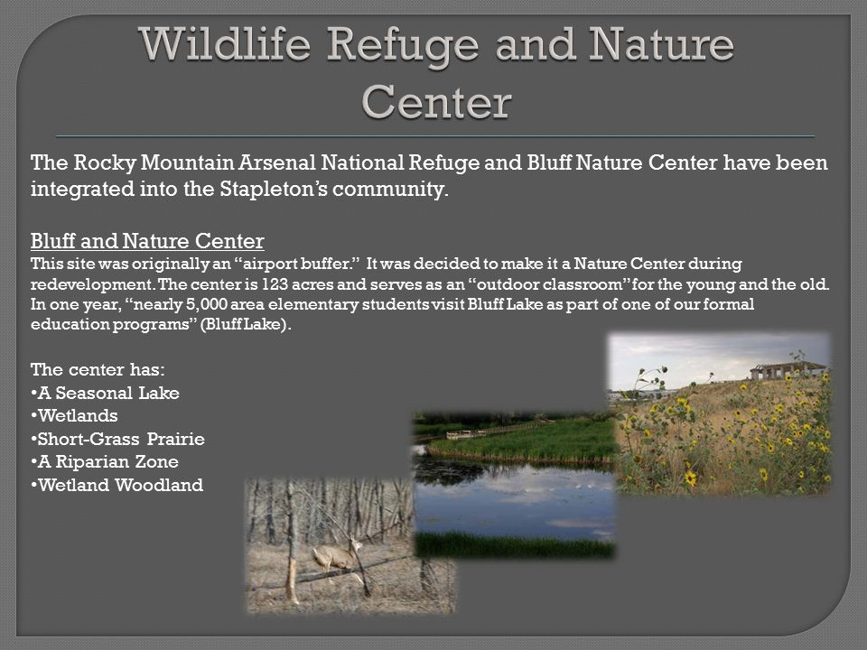 The Rocky Mountain Arsenal National Refuge and Bluff Nature Center have been integrated into the Stapleton's community. Bluff and Nature Center This s
