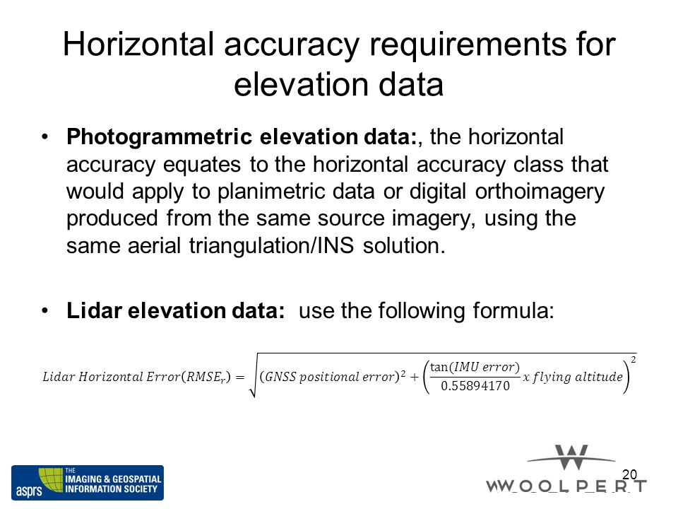 Horizontal accuracy requirements for elevation data 20
