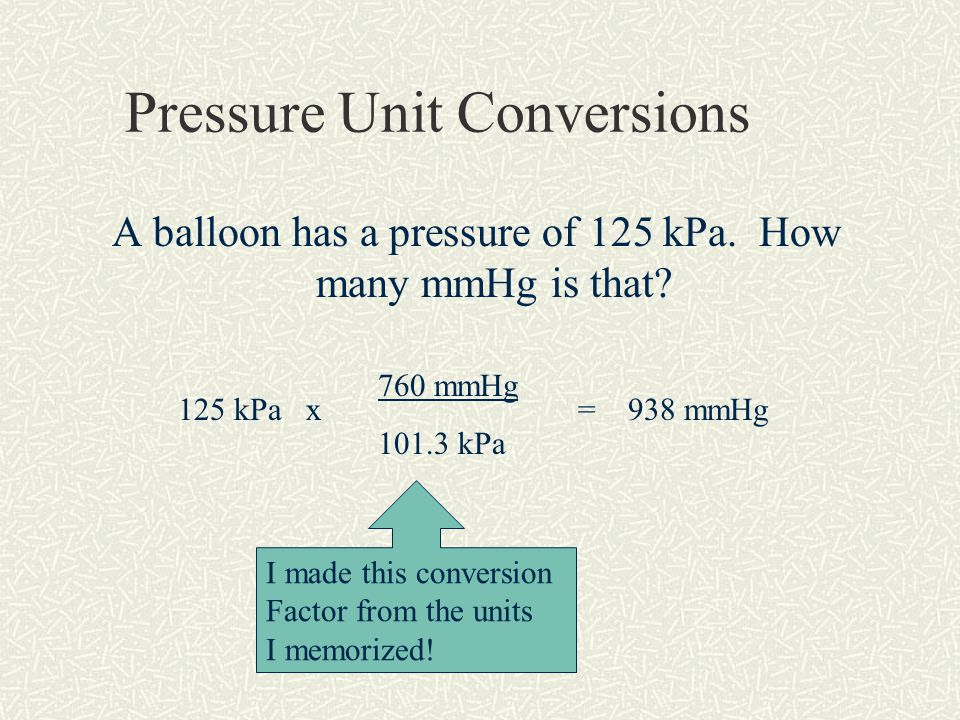Pressure Unit Conversions A balloon has a pressure of 125 kPa.