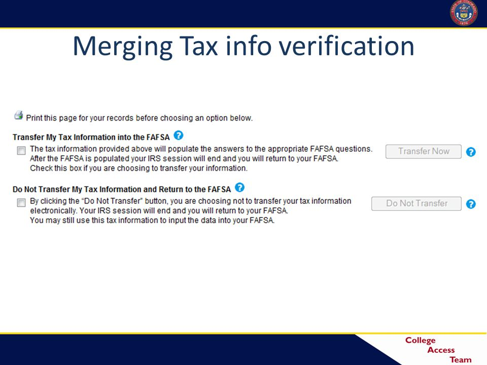 Merging Tax info verification