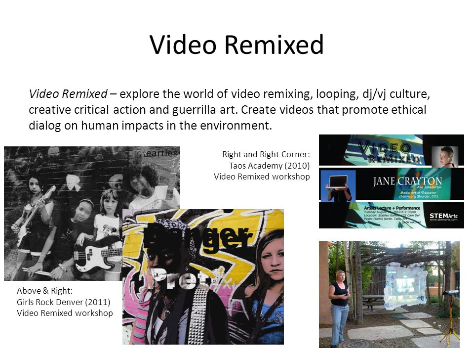 Video Remixed Video Remixed – explore the world of video remixing, looping, dj/vj culture, creative critical action and guerrilla art.