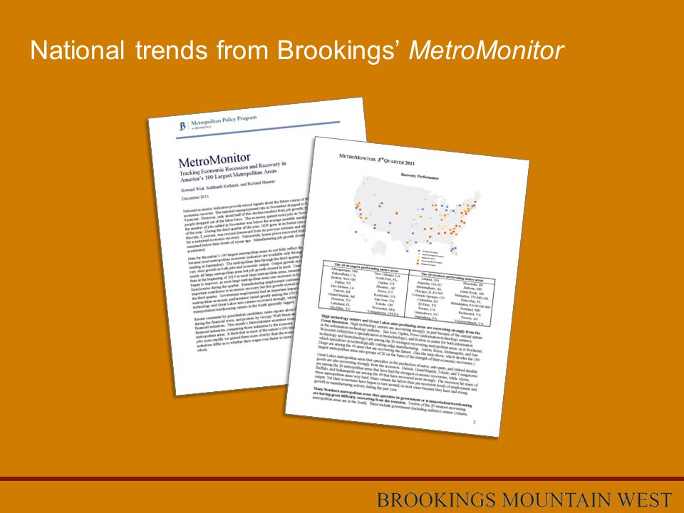 National trends from Brookings' MetroMonitor