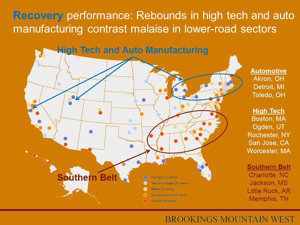 Recovery performance: Rebounds in high tech and auto manufacturing contrast malaise in lower-road sectors High Tech and Auto Manufacturing Southern Belt Automotive Akron, OH Detroit, MI Toledo, OH High Tech Boston, MA Ogden, UT Rochester, NY San Jose, CA Worcester, MA Southern Belt Charlotte, NC Jackson, MS Little Rock, AR Memphis, TN
