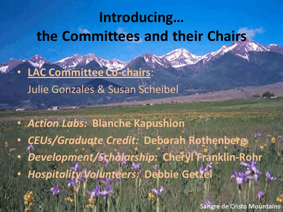 Introducing… the Committees and their Chairs LAC Committee Co-chairs: Julie Gonzales & Susan Scheibel Action Labs: Blanche Kapushion CEUs/Graduate Credit: Deborah Rothenberg Development/Scholarship: Cheryl Franklin-Rohr Hospitality Volunteers: Debbie Getzel Sangre de Cristo Mountains
