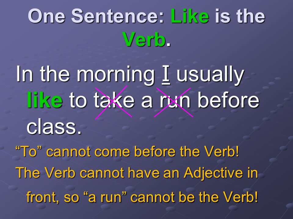 One Sentence: Where's the Verb In the morning, I usually like( ) to take( ) a run( ) before class.