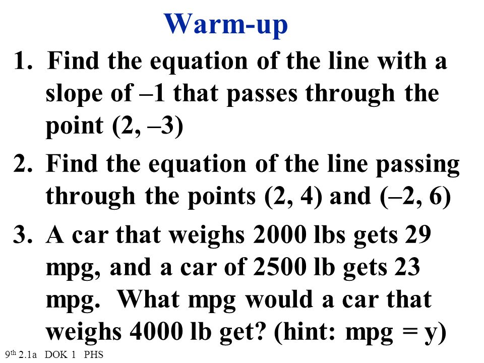 Warm-up 1. Find the equation of the line with a slope of –1 that passes through the point (2, –3) 2.Find the equation of the line passing through the