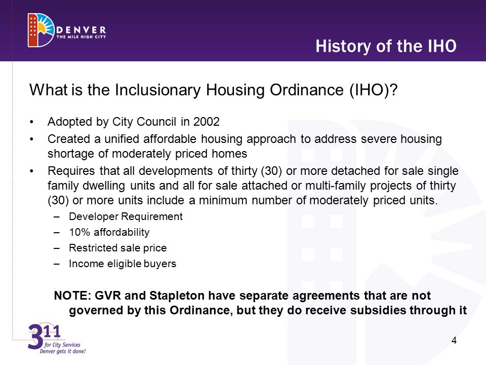History of the IHO What is the Inclusionary Housing Ordinance (IHO).