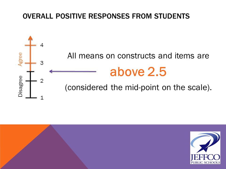 OVERALL POSITIVE RESPONSES FROM STUDENTS All means on constructs and items are above 2.5 (considered the mid-point on the scale).