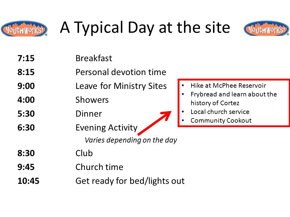 A Typical Day at the site 7:15Breakfast 8:15Personal devotion time 9:00Leave for Ministry Sites 4:00Showers 5:30Dinner 6:30Evening Activity Varies depending on the day 8:30Club 9:45Church time 10:45Get ready for bed/lights out Hike at McPhee Reservoir Frybread and learn about the history of Cortez Local church service Community Cookout