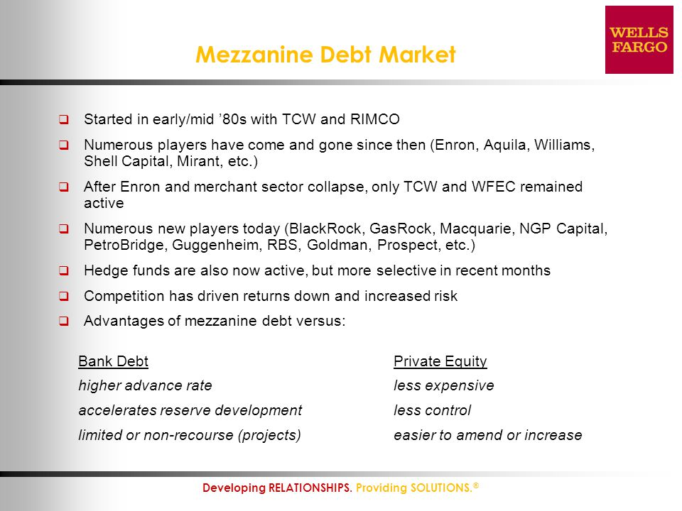 8 Developing RELATIONSHIPS. Providing SOLUTIONS. ® Mezzanine Debt Market  Started in early/mid '80s with TCW and RIMCO  Numerous players have come a