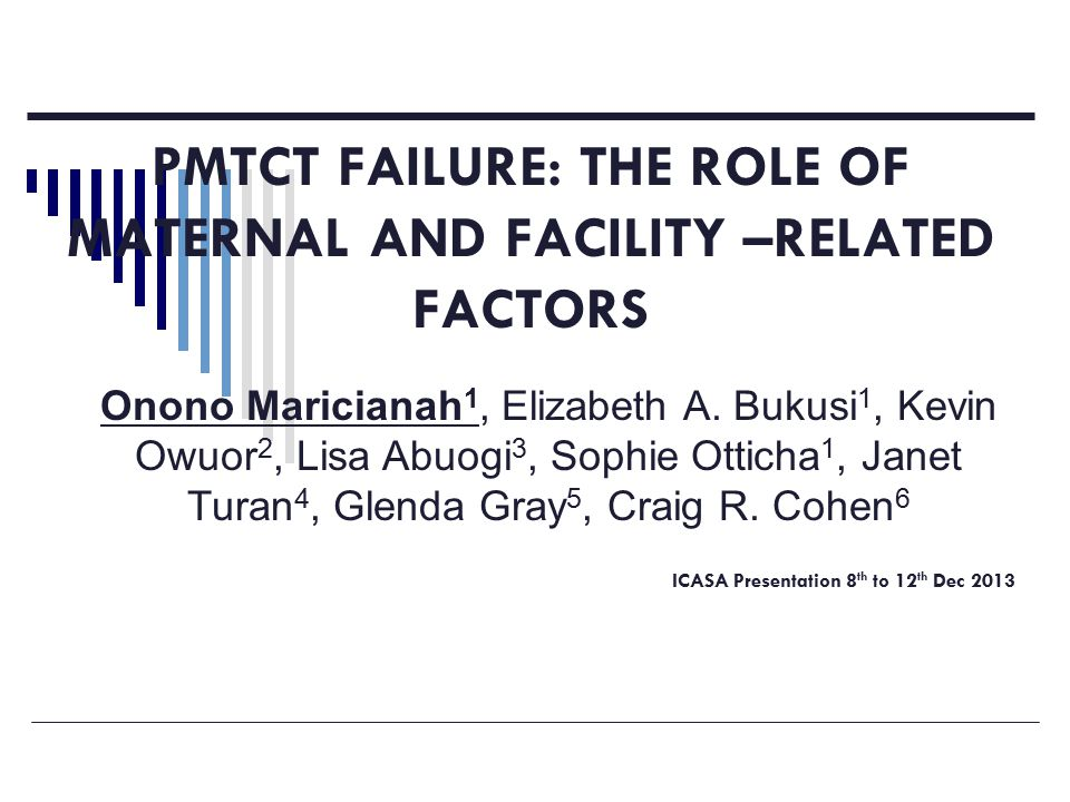 PMTCT FAILURE: THE ROLE OF MATERNAL AND FACILITY –RELATED FACTORS ICASA Presentation 8 th to 12 th Dec 2013 Onono Maricianah 1, Elizabeth A.