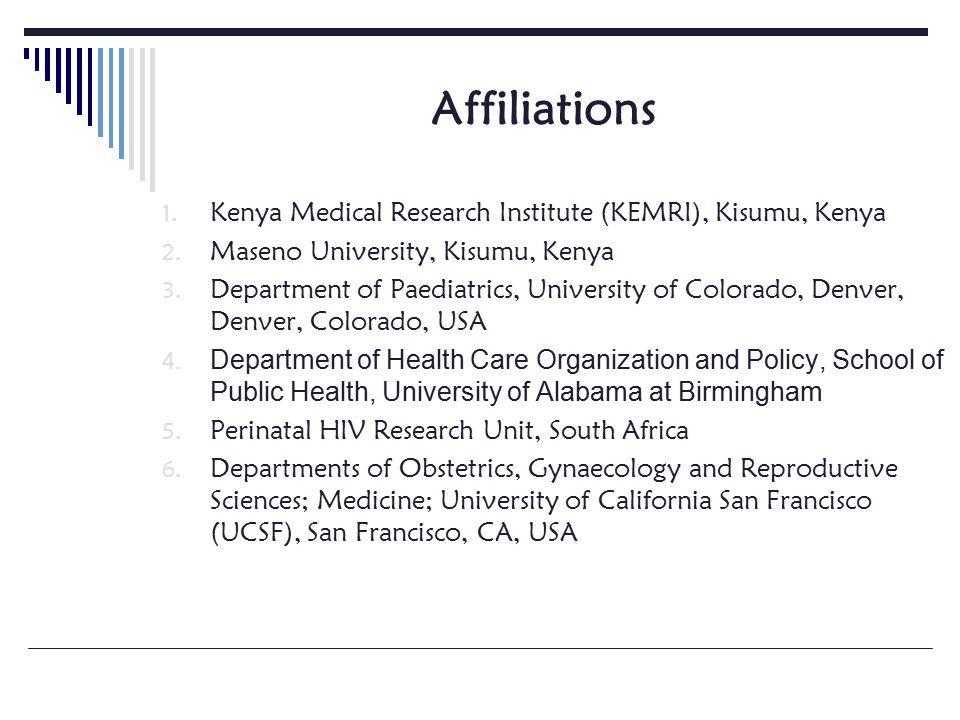 Affiliations 1. Kenya Medical Research Institute (KEMRI), Kisumu, Kenya 2.