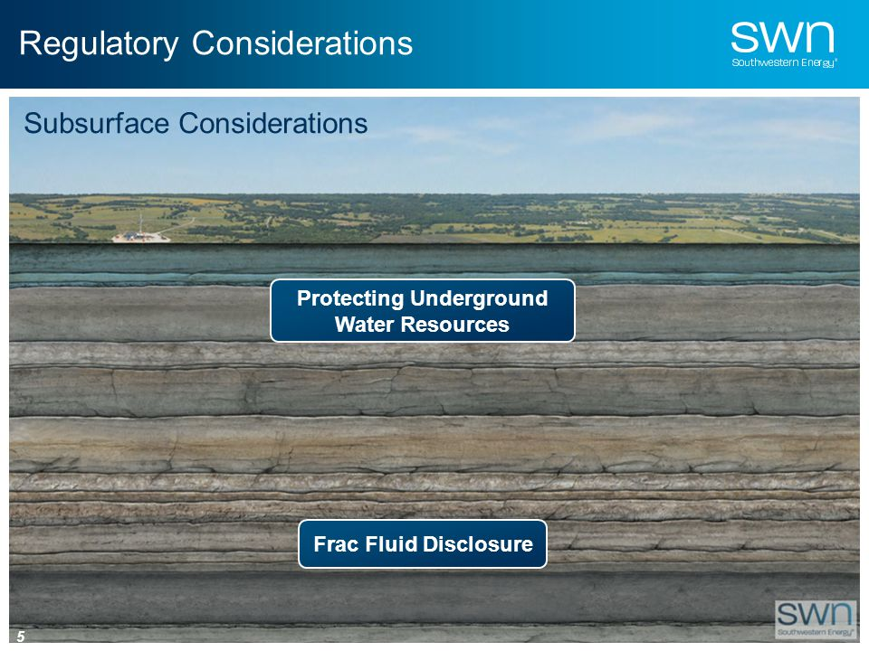 Regulatory Considerations Protecting Underground Water Resources Frac Fluid Disclosure Subsurface Considerations 5