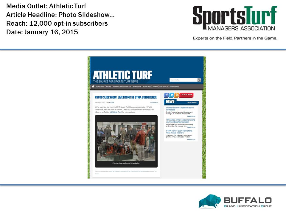 Media Outlet: Athletic Turf Article Headline: Photo Slideshow...