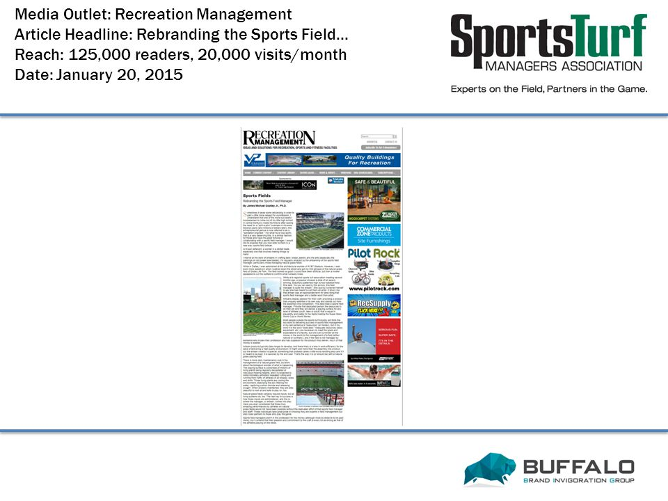 Media Outlet: Recreation Management Article Headline: Rebranding the Sports Field...