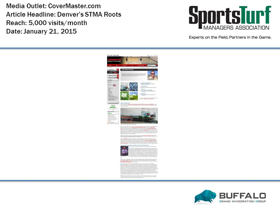 Media Outlet: CoverMaster.com Article Headline: Denver's STMA Roots Reach: 5,000 visits/month Date: January 21, 2015