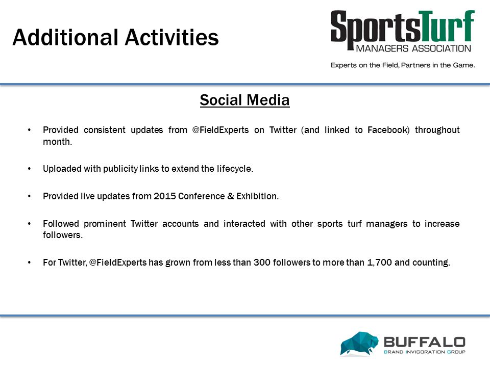 Social Media Additional Activities Provided consistent updates from @FieldExperts on Twitter (and linked to Facebook) throughout month.