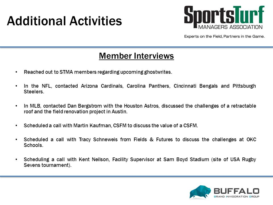 Member Interviews Additional Activities Reached out to STMA members regarding upcoming ghostwrites.