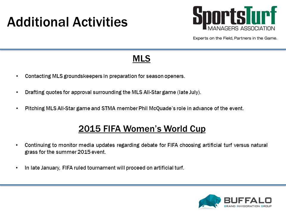 2015 FIFA Women's World Cup Additional Activities Continuing to monitor media updates regarding debate for FIFA choosing artificial turf versus natura