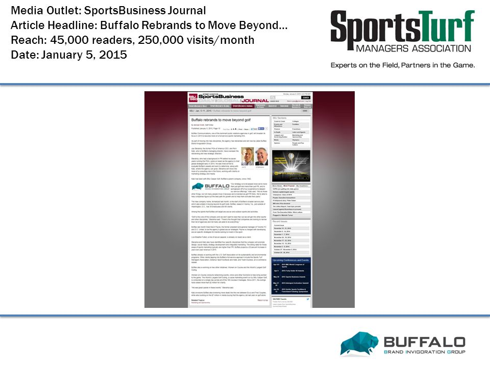 Media Outlet: SportsBusiness Journal Article Headline: Buffalo Rebrands to Move Beyond...