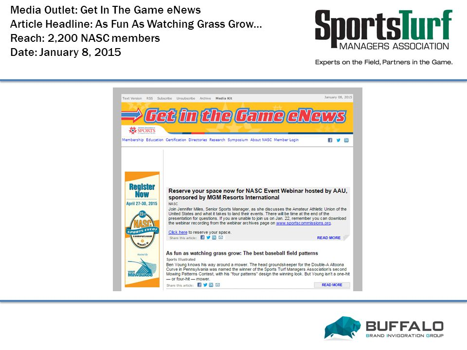 Media Outlet: Get In The Game eNews Article Headline: As Fun As Watching Grass Grow...