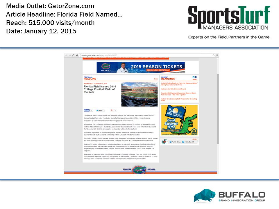 Media Outlet: GatorZone.com Article Headline: Florida Field Named...