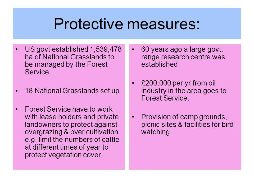 Protective measures: US govt established 1,539,478 ha of National Grasslands to be managed by the Forest Service. 18 National Grasslands set up. Fores