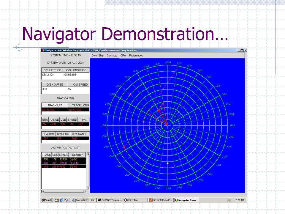 Navigator Demonstration…